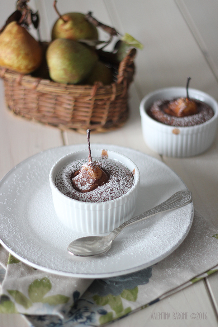 chocolate souffle and cinnamon pears